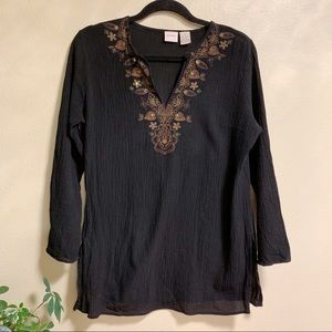 Merona • Black Peasant Top w/ Embroidered Neckline